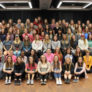 The University of Alabama chapter of Alpha Omega Epsilon took a picture during sisterhood retreat in February 2018 at the Ferguson Center on the campus of UA.