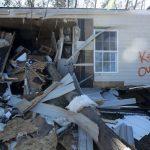 A trailer damaged by a tornado