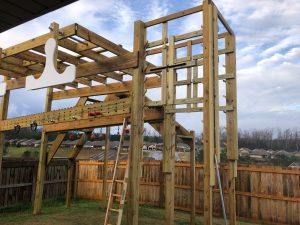 Obstacle course made of wood in a backyard