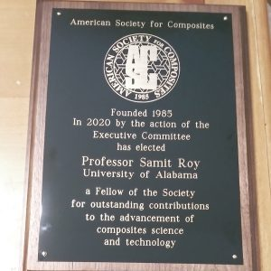 photo of a plaque awarded to Dr. Samit Roy