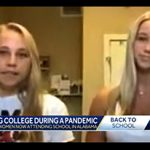 A news screen capture of two college women