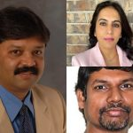 3 pictures pieced together of Dr. Ravi Kumar, left; Dr. Meenakshi Arora, top right; and Dr. Raghu Ganugula.
