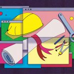 illustration of hard hat and diploma in various web browser windows