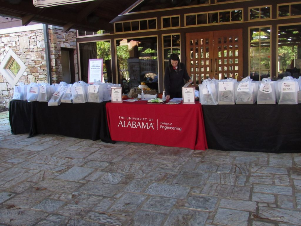 Tables set up outside the front of the club