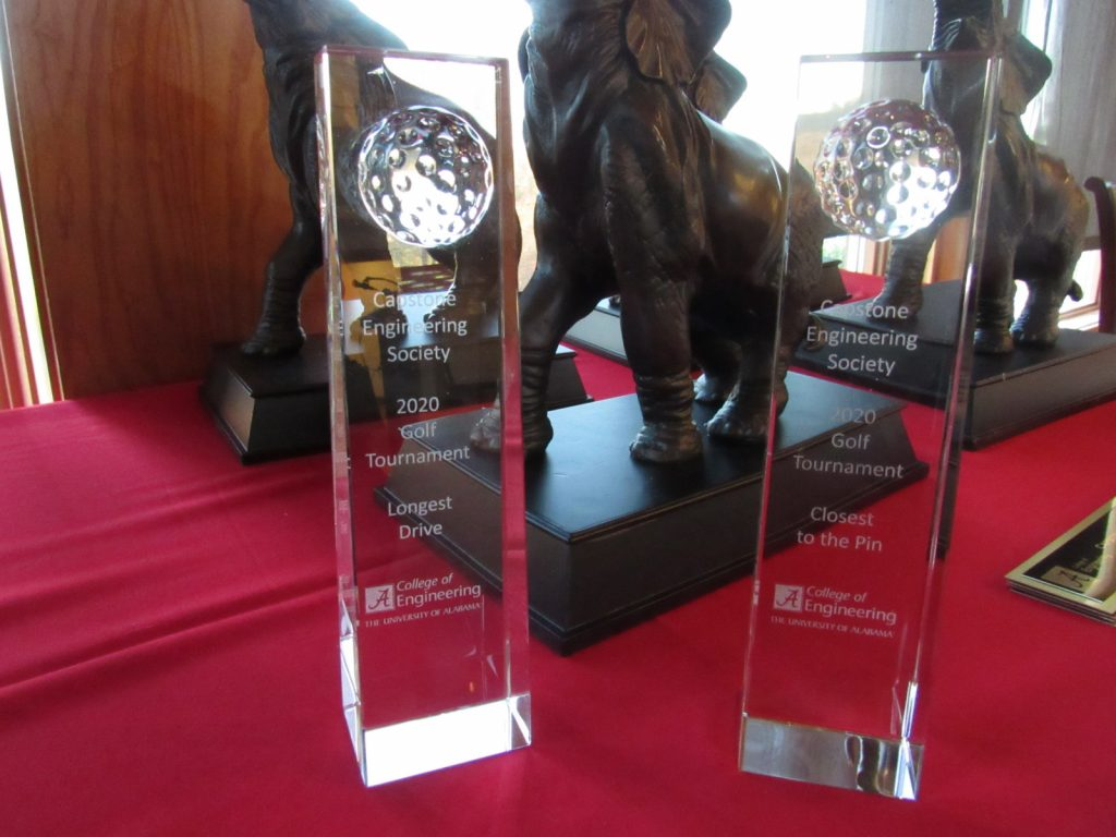 Closeup of the trophies