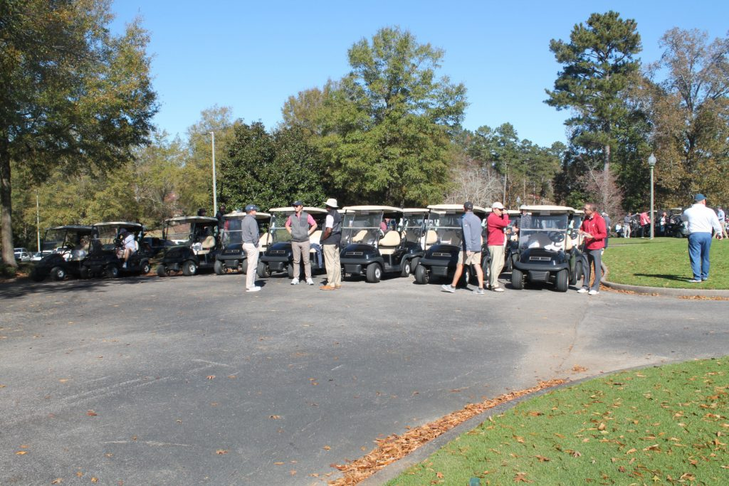 people standing by the golf carts