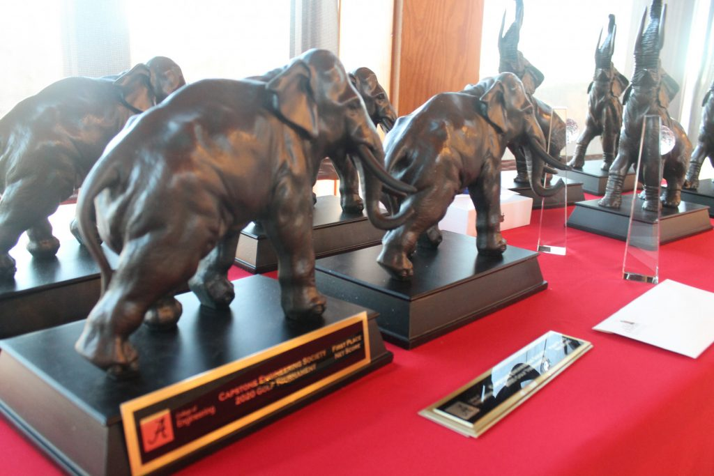Elephant trophies on a table