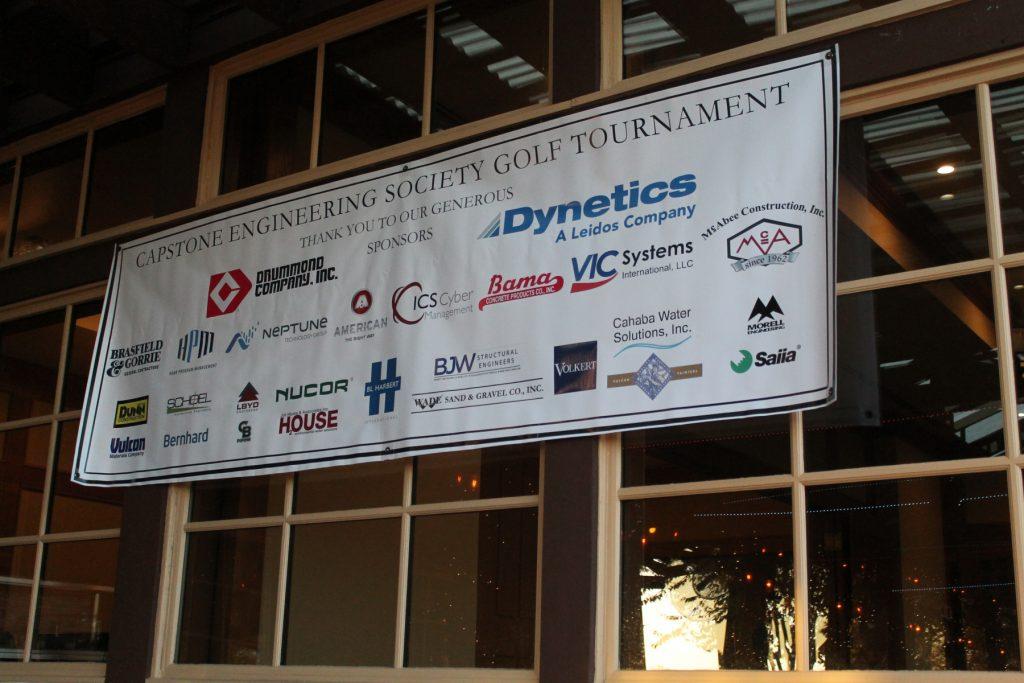 Sponsors banner hanging on building