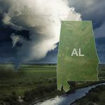 graphic of weather storm forming and the state shape of Alabama on it