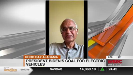 news screen capture of Dr. Balasubramanian with news graphics framing